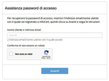 Recupero password SPID Passo 02